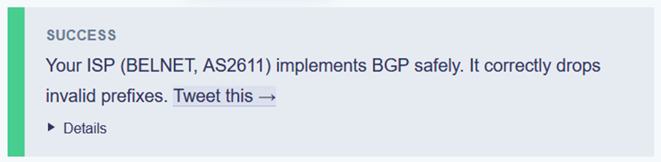 Screenshot with the text 'Your ISP (Belnet, AS2611) implements BGP safely""