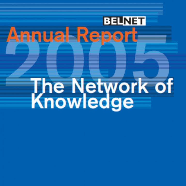 Cover of the 2005 annual report with a blue background and colorful lines.