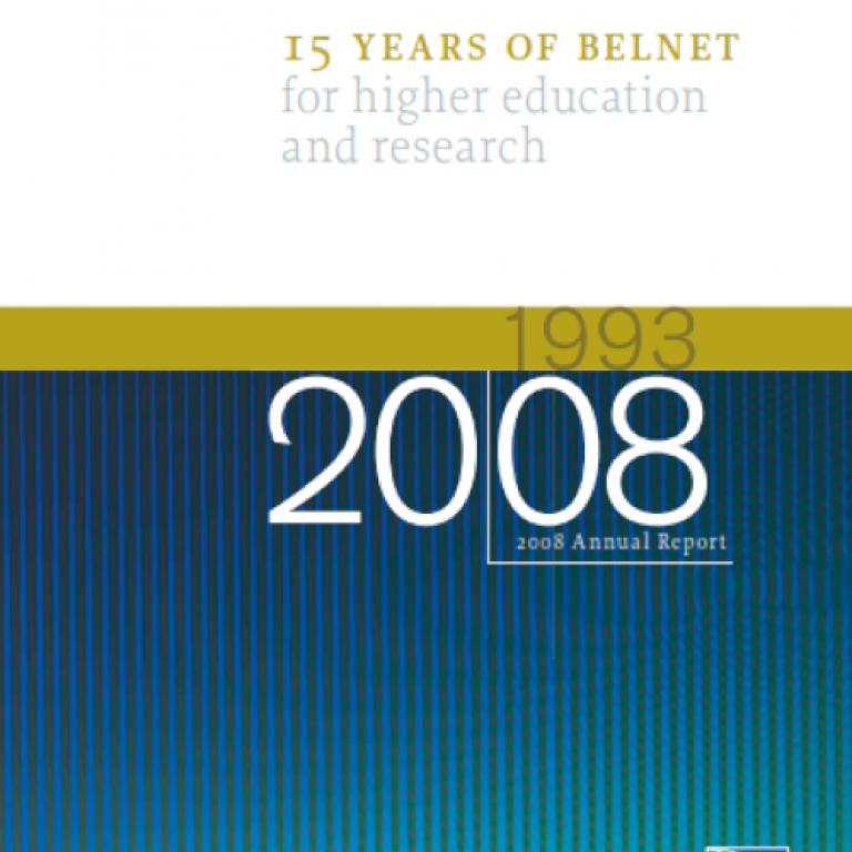 Cover of 2008 annual report on blue, green and white background.