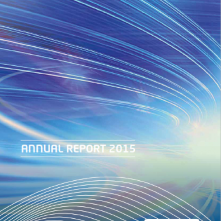 Cover of the 2015 annual report representing the network in an abstract way via colored curves.