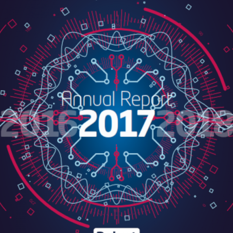 Cover of the 2017 annual report. Abstract image representing network connections.